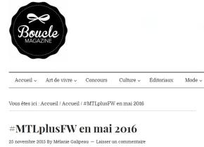 Montreal + Fashion Week - Boucle Magazine
